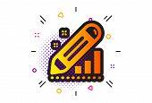 Pencil Chart Sign. Halftone Circles Pattern. Edit Statistics Icon. Seo Management Symbol. Classic Fl poster