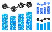 Charts Mosaic Of Small Circles In Various Sizes And Color Tinges, Based On Charts Icon. Vector Fille poster