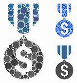 Dollar Medal Mosaic Of Spheric Dots In Various Sizes And Color Hues, Based On Dollar Medal Icon. Vec poster