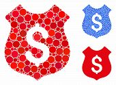 Dollar Shield Mosaic Of Round Dots In Variable Sizes And Color Tones, Based On Dollar Shield Icon. V poster