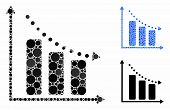 Negative Trend Mosaic Of Spheric Dots In Variable Sizes And Color Hues, Based On Negative Trend Icon poster