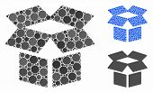 Open Box Mosaic Of Filled Circles In Variable Sizes And Shades, Based On Open Box Icon. Vector Rando poster