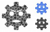 Gear Angry Smiley Mosaic Of Circle Elements In Different Sizes And Color Hues, Based On Gear Angry S poster