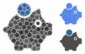 Piggy Bank Composition Of Round Dots In Various Sizes And Color Tints, Based On Piggy Bank Icon. Vec poster