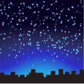 City at night. The starry sky. Vector illustration.