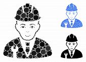 Developer Mosaic Of Round Dots In Various Sizes And Shades, Based On Developer Icon. Vector Round Do poster