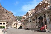 Galta Ji Mandir Temple (Monkey Temple) near Jaipur, India poster