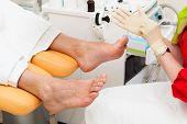 pedicure foot in a modern beauty salon
