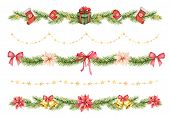 Watercolor Christmas Set Of Borders Of Spruce Green Branches And Gifts. poster
