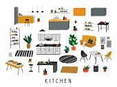 Set For Kitchen Or Dining Room With Stylish Comfy Furniture And Modern Home Decorations In Trendy Sc poster