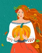 Woman Like Autumn Season. Beauty Fall Flat Female Character With Red Orange Hair For Harvest, Agricu poster