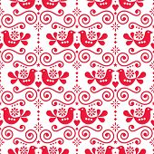 Scandinavian Folk Seamless Vector Pattern, Repetitive Floral Cute Nordic Design With Birds In Red On poster