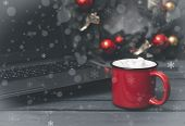 1 Red Mug With Cocoa, Hot Chocolate Or Coffee And Marshmallows Next To A Gray Laptop, Spruce Christm poster