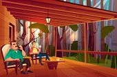 Father And Son Resting On Country House Veranda Cartoon . Man Smoking Tobacco Pipe, Teenage Boy Drin poster