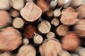 Stack Logs Closeup Speed Movement Speed Blurred Brown Wooden Background poster