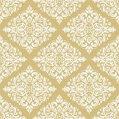 Classic Seamless Vector Light Golden And White Pattern. Damask Orient Ornament. Classic Vintage Back poster