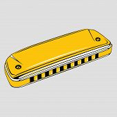 stock photo of aerophone  - Yellow harmonica isolated on light grey backgound - JPG