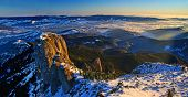 Mountain Panorama From The Top In Winter, Aerial Panorama In Romanian Carpathians. poster