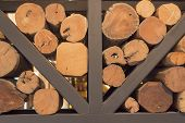 The Texture Of Chopped Firewood Stacking. Harvesting Firewood For The Winter. Wooden Logs, Beams, Fi poster