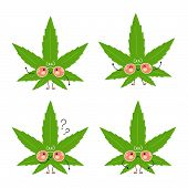 Cute Happy Marijuana Weed Leafset. Isolated On White Background. Vector Cartoon Character Illustrati poster