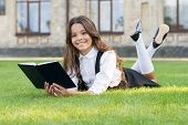 The Book Is Genius. Genius Bookworm Relax Reading On Green Grass. Happy Little Genius Read Book Outd poster
