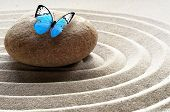 Zen Garden Meditation Stone Background And Butterfly With Stones And Lines In Sand For Relaxation Ba poster