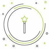 Black And Green Line Magic Wand Icon Isolated On White Background. Star Shape Magic Accessory. Magic poster