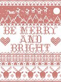 Be Merry And Bright Carol Lyrics Christmas Pattern With Scandinavian Nordic Festive Winter Pattern I poster