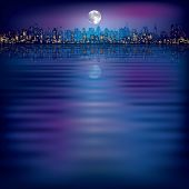 foto of moon silhouette  - abstract night background with silhouette of city and moon - JPG