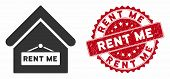 Vector Rent Me Icon And Distressed Round Stamp Seal With Rent Me Caption. Flat Rent Me Icon Is Isola poster