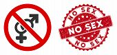 Vector No Sex Icon And Grunge Round Stamp Seal With No Sex Phrase. Flat No Sex Icon Is Isolated On A poster