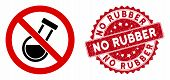 Vector No Chemical Analysis Icon And Grunge Round Stamp Seal With No Rubber Phrase. Flat No Chemical poster