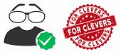 Vector For Clevers Icon And Rubber Round Stamp Seal With For Clevers Phrase. Flat For Clevers Icon I poster