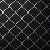 stock photo of chain link fence  - A 3D chain link fence texture that makes a great backdrop - JPG