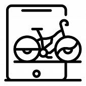 Tablet Online Bike Rent Icon. Outline Tablet Online Bike Rent Vector Icon For Web Design Isolated On poster