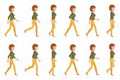 Young Adult Woman In Yellow Pants Walking Sequence Poses Vector Illustration. Moving Forward Going G poster