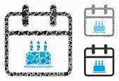 Birthday Composition Of Raggy Elements In Different Sizes And Shades, Based On Birthday Icon. Vector poster