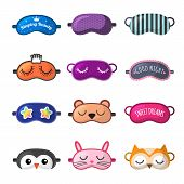 Sleeping Mask. Rest Clothes For Girl Face Closed Eyes Sleepover Masks Vector Collection. Funny Mask  poster
