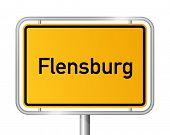 City limit sign FLENSBURG against white background - Schleswig Holstein, Germany