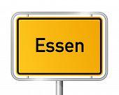 City limit sign ESSEN against white background - North Rhine Westphalia, Nordrhein Westfalen, Germany