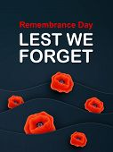 Vector Remembrance Day Web Layered Banner. Paper Cut Red Poppy Flower International Symbol Of Peace. poster