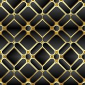 Elegant Black And Gold 3d Geometric Seamless Pattern. Ornate Symmetrical Waffle Background. Repeat G poster