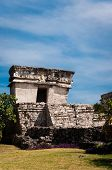 Temple From Mayan Ruins In Tulum Mexico Yucatan