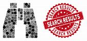 Mosaic Binoculars And Grunge Stamp Seal With Search Results Phrase. Mosaic Vector Is Composed With B poster