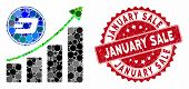 Mosaic Dash Growing Chart And Rubber Stamp Watermark With January Sale Text. Mosaic Vector Is Formed poster