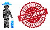 Mosaic Gentleman Baggage And Corroded Stamp Seal With Found Luggage Text. Mosaic Vector Is Composed  poster