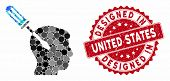 Mosaic Intellect Screwdriver Tuning And Corroded Stamp Seal With Designed In United States Phrase. M poster