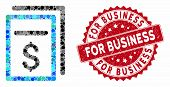 Mosaic Invoices And Corroded Stamp Watermark With For Business Phrase. Mosaic Vector Is Formed With  poster