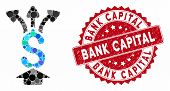Collage Share Money And Rubber Stamp Seal With Bank Capital Caption. Mosaic Vector Is Designed With  poster