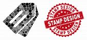 Mosaic Tags And Grunge Stamp Watermark With Stamp Design Caption. Mosaic Vector Is Designed With Tag poster